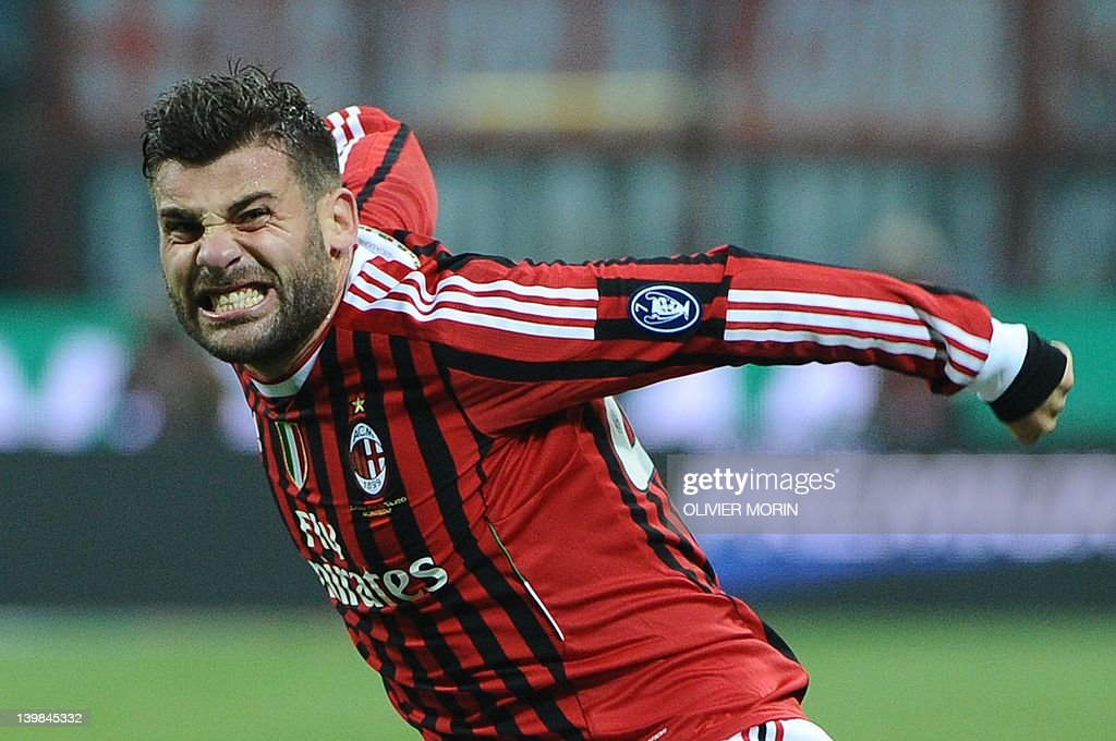 AC Milan's defender Antonio Nocerino celebrates after scoring a goal during the A series football match between AC Milan and Juventus, on February 25, 2012, at the San Siro stadium in Milan.