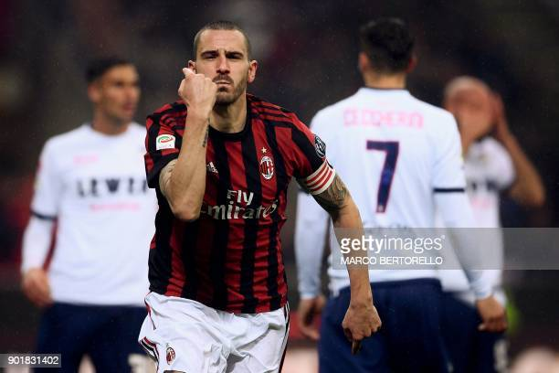 AC Milan's defender Leonardo Bonucci from Italy celebrates after scoring during the Italian Serie A football match AC Milan vs Crotone on January 6...