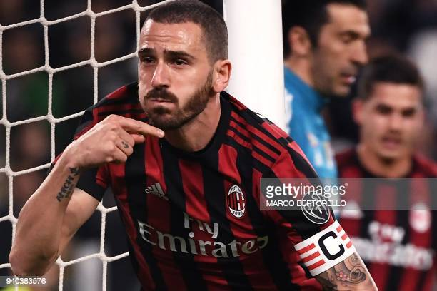 AC Milan's defender Leonardo Bonucci from Italy celebrates after scoring during the Italian Serie A football match Juventus Vs AC Milan on March 31...
