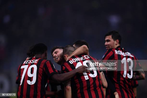 AC Milan's defender Leonardo Bonucci from Italy celebrates with teammates after scoring during the Italian Serie A football match AC Milan vs Crotone...