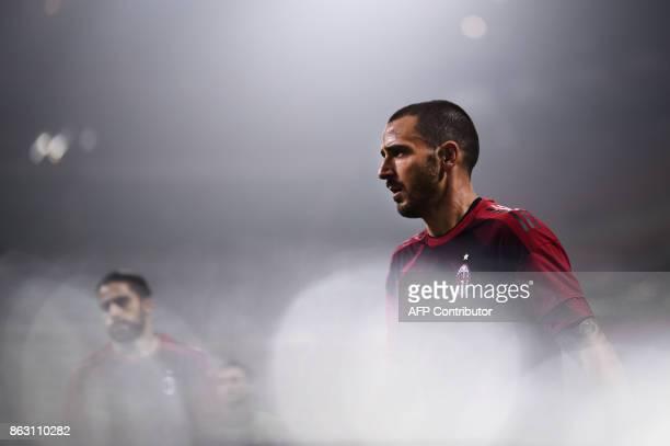 AC Milan's defender Leonardo Bonucci from Italy warms up before the UEFA Europa League football match AC Milan vs AEK Athens at the 'San Siro...