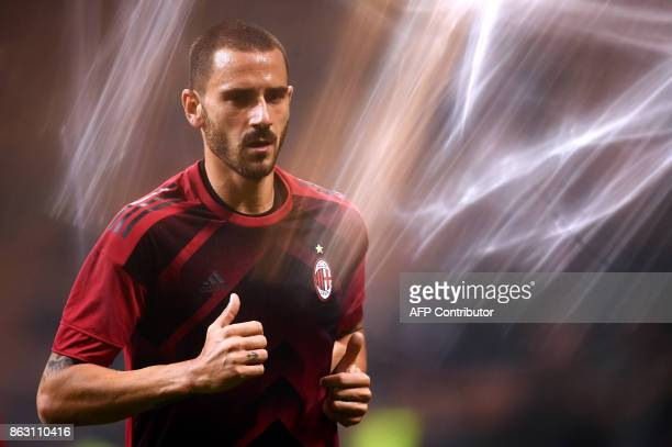AC Milan's defender Leonardo Bonucci from Italy warms up before the UEFA Europa League football match AC Milan vs AEK Athens at the 'San Siro...