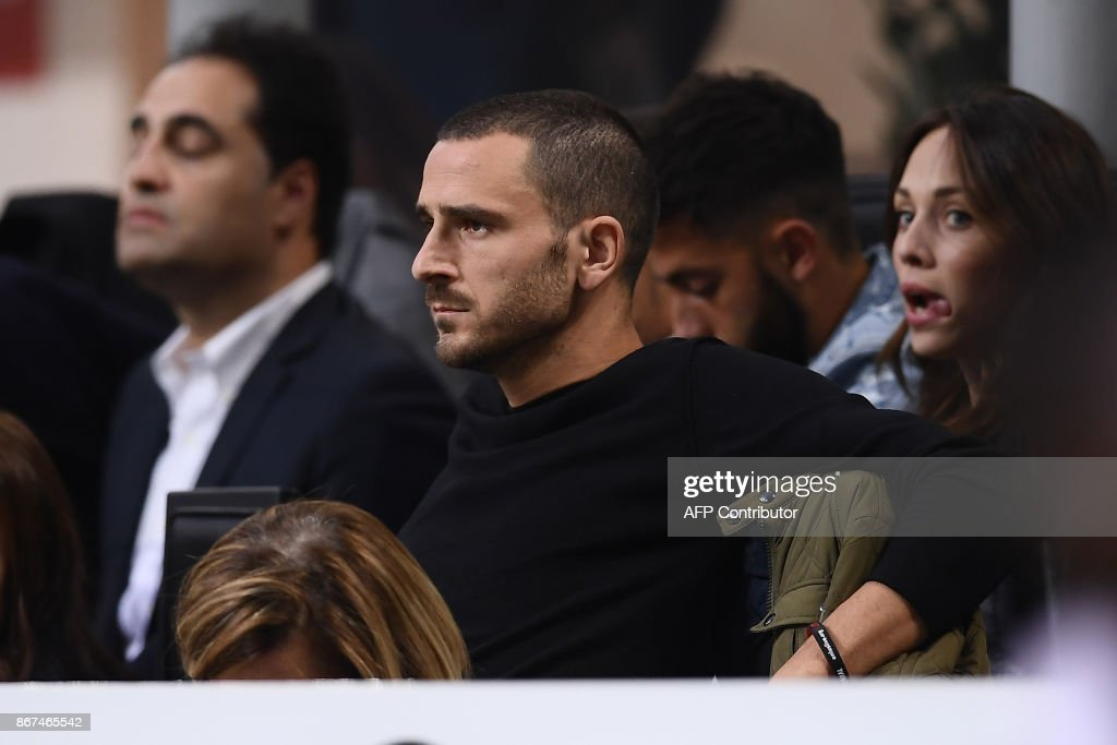 AC Milan's defender Leonardo Bonucci looks on from the stands the Italian Serie A football match AC Milan Vs Juventus on October 28, 2017 at the 'Giuseppe Meazza' Stadium in Milan. /