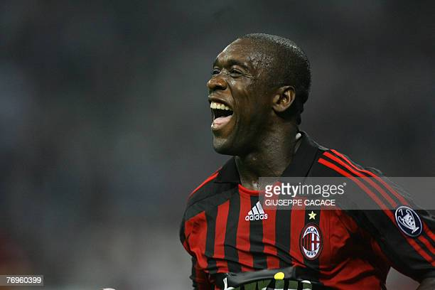 Milan's Dutch midfielder Clarence Seedorf celebrates after scoring a goal during their Seria A match between AC Milan and Parma at San Siro Stadium...