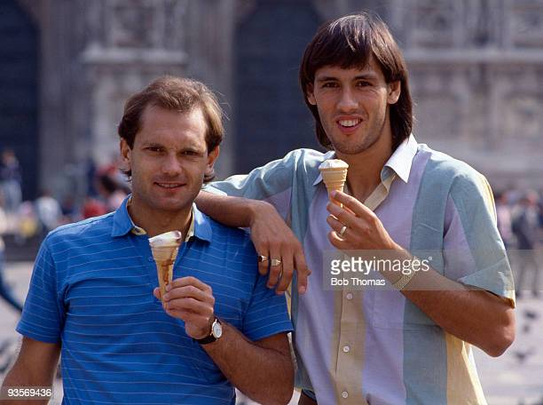 AC Milan's England Internationals Ray Wilkins and Mark Hateley eating Italian icecream in Milan on 17th September 1984