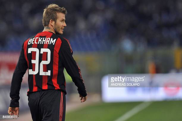 AC Milan's English midfielder David Beckham walks on the pitch during his team's Italian serie A football match against Lazio on February 1 2009 at...