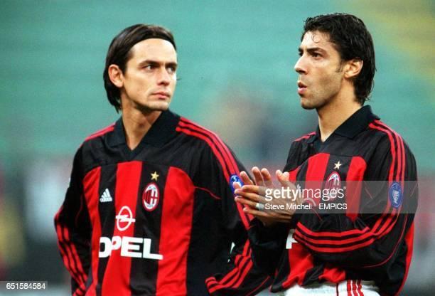 AC Milan's Filippo Inzaghi and Manuel Rui Costa