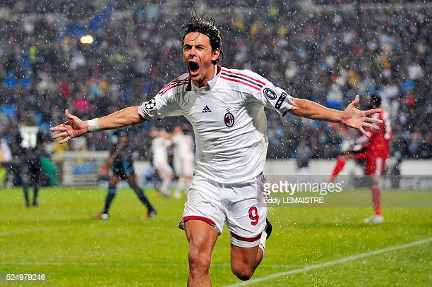 Milan's Filippo Inzaghi celebrates his second goal during the UEFA Champions League soccer match Olympique de Marseille vs AC Milan at the Velodrome...