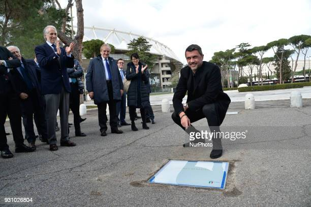 AC Milan's former player Paolo Maldini poses during the ceremony Walk of Fame in Rome Italy on 12 March 2018 The Walk of Fame is enriched with 5 more...