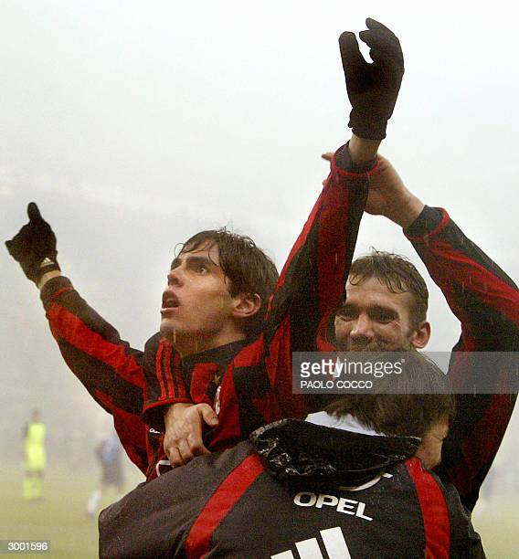 Milan's forward Kaka of Brazil celebrates after scoring against Inter Milan with teammate Andriy Shevchenko of Ukraine during their Serie A soccer...