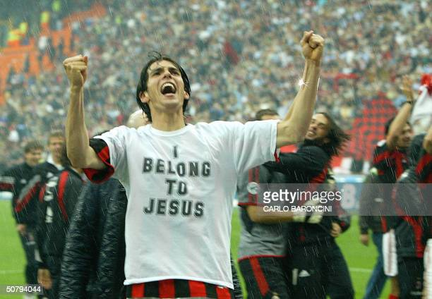 Milan's forward Kaka of Brazil celebrates at the end of AC Milan vs AS Roma Serie A football match at Milan's San Siro stadium 02 May 2004 AC Milan...