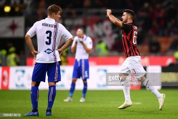 AC Milan's forward Patrick Cutrone from Italy celebrates after scoring during the Italian Serie A football match AC Milan vs Sampdoria on October 28...