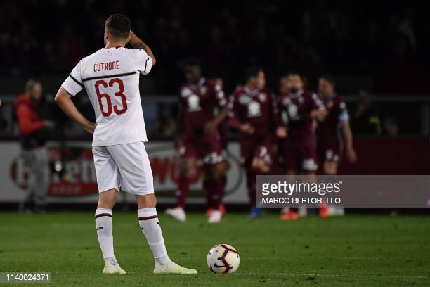 AC Milan's forward Patrick Cutrone reacts next to the ball during the Italian Serie A football match between Torino and AC Milan on April 28 2019 at...