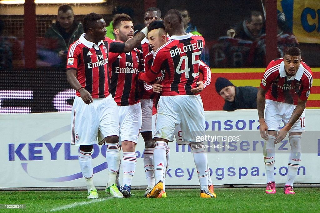 AC Milan's forward Stephan El Shaarawy (R) celebrates after scoring during the serie A match between Inter Milan and AC Milan, on February 24, 2013 in Milan, at the San Siro stadium .