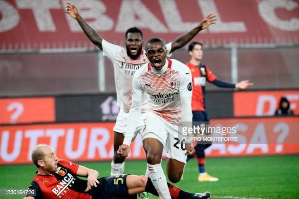 Milan's French defender Pierre Kalulu celebrates after scoring an equalizer during the Italian Serie A football match Genoa vs AC Milan on December...