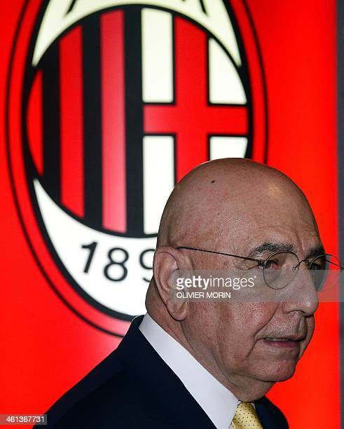 AC Milan's general director Adiano Galliani arrives to give a press conference on January 8 2014 in Milan at San Siro stadium AFP PHOTO / OLIVIER...