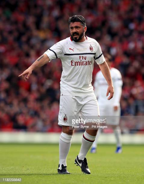 Milan's Gennaro Gattuso during the Legends match at Anfield Stadium Liverpool