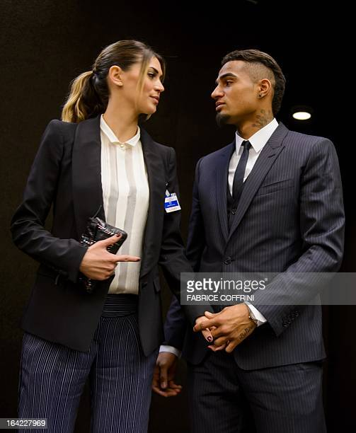 AC Milan's Ghana international KevinPrince Boateng stands with his girlfriend Melissa Satta after a panel discussion on racism and sport on March 21...
