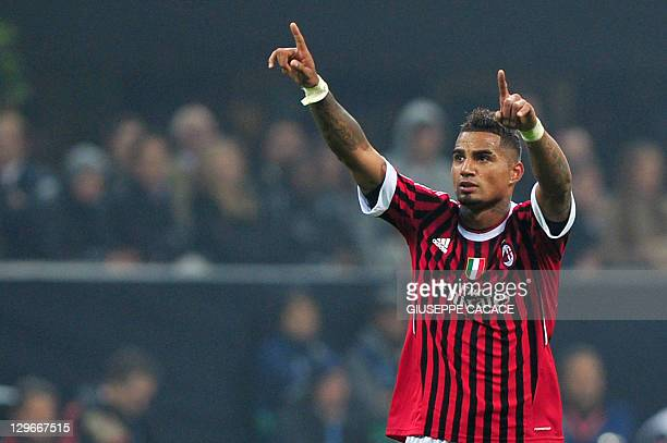 AC Milan's Ghanaian defender Prince Kevin Boateng celebrates scoring against Bate Borisov during their Champions League match on October 19 2011 in...