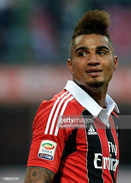 AC Milan's Ghanaian forward Prince Kevin Boateng looks on during an Italian Serie A football match between Ac Milan and Siena on January 6 2013 at...