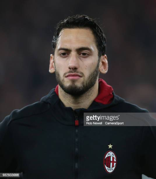 Milan's Hakan Calhanoglu during the Europa League Round of 16 Second Leg match between Arsenal and AC Milan at Emirates Stadium on March 15 2018 in...