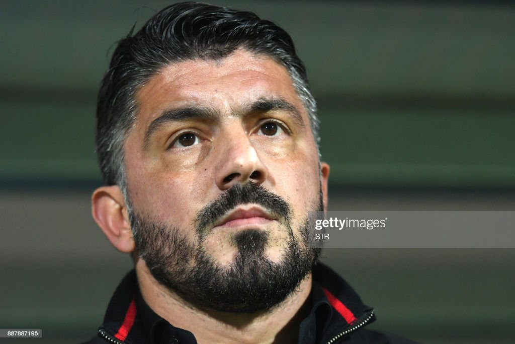 AC Milan's head coach Gennaro Gattuso looks on prior to the UEFA Europa League Group D football match between HNK Rijeka and AC Milan at The Rujevica Stadium in Rijeka on December 7, 2017. /