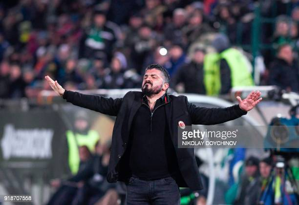AC Milan's Head coach Gennaro Gattuso reacts during the UEFA Europa League round of 32 firstleg football match between PFC Ludogorets Razgrad and AC...