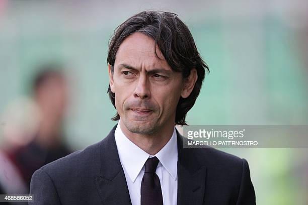 Milan's headcoach Filippo Inzaghi looks on during the Italian Serie A football match Palermo vs Milan at Renzo Barbera Stadium in Palermo on April 4...
