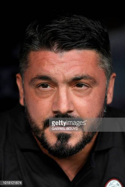 AC Milan's Italian coach Gennaro Gattuso attends the Santiago Bernabeu Trophy football match between Real Madrid and AC Milan in Madrid on August 11...