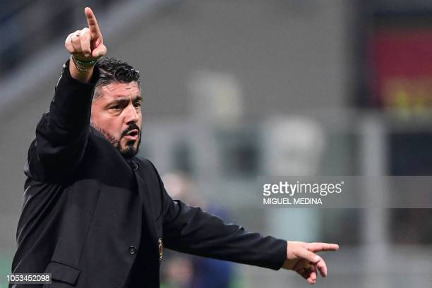 AC Milan's Italian coach Gennaro Gattuso gives instructions during the UEFA Europa League group F stage football match AC Milan vs Real Betis on...