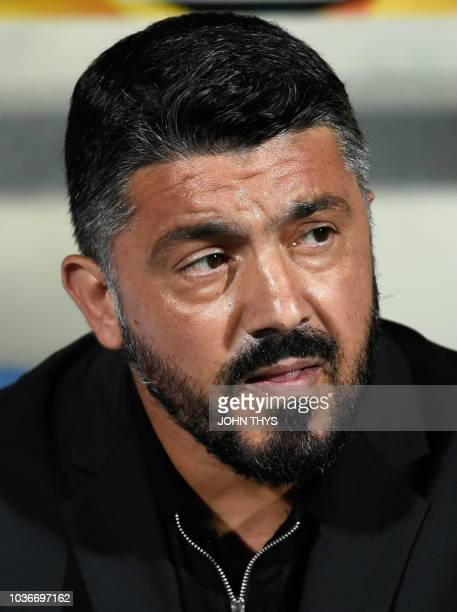 AC Milan's Italian coach Gennaro Gattuso looks on during the UEFA Europa League Group F football match between F91 Dudelange and AC Milan at the Josy...