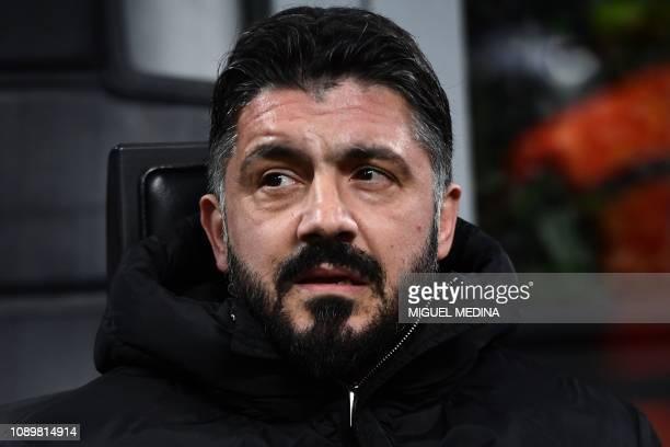 AC Milan's Italian coach Gennaro Gattuso looks on prior to the Italian Serie A football match AC Milan vs Napoli on January 26 2019 at the San Siro...
