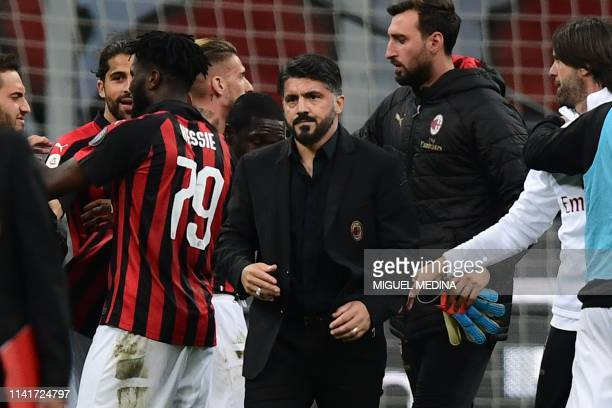 AC Milan's Italian coach Gennaro Gattuso reacts at the end of the Italian Serie A football match AC Milan vs Bologna on May 6 2019 at the San Siro...
