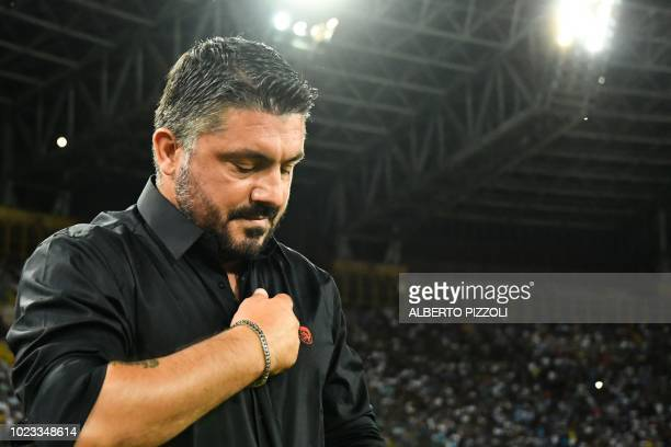 AC Milan's Italian coach Gennaro Gattuso reacts during the Italian Serie A football match Napoli vs AC Milan on August 25 2018 at the San Paolo...