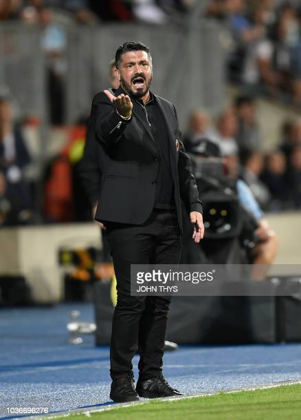 AC Milan's Italian coach Gennaro Gattuso reacts during the UEFA Europa League Group F football match between F91 Dudelange and AC Milan at the Josy...