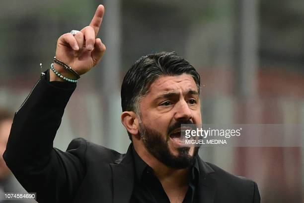 AC Milan's Italian coach Gennaro Gattuso shouts instructions during the Italian Serie A Football match AC Milan vs Fiorentina on December 22 2018 at...