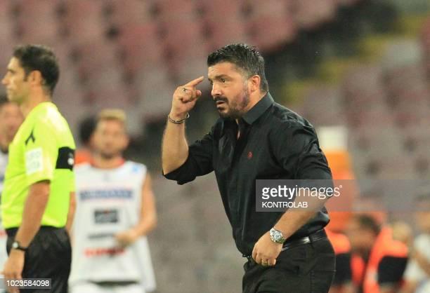 STADIUM NAPLES CAMPANIA ITALY Milan's Italian coach Gennaro Ivan Gattuso gestures during the Italian Serie A football match SSC Napoli vs AC Milan at...