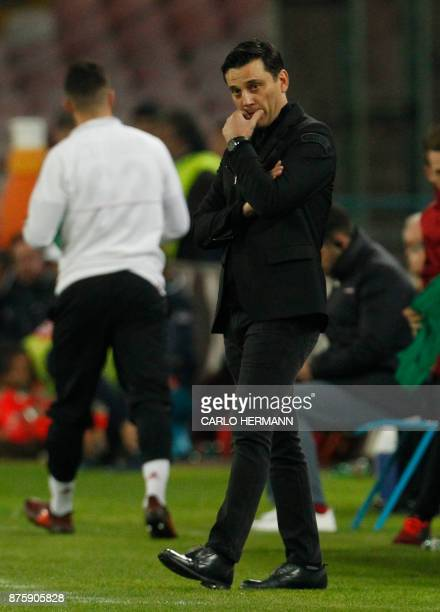 Milan's Italian coach Vincenzo Montella looks on during the Italian Serie A football match SSC Napoli vs AC Milan on November 18 2017 at the San...