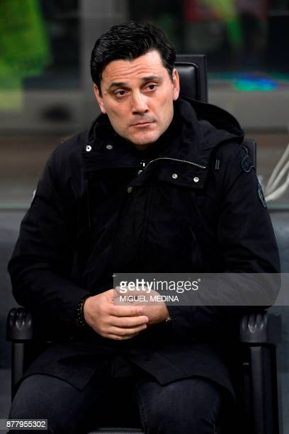 AC Milan's Italian coach Vincenzo Montella looks on prior the UEFA Europa League group D football match between AC Milan vs FK AustriaWien at the San...