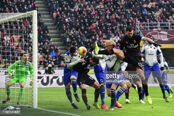 AC Milan's Italian defender Alessio Romagnoli goes for the ball during the Italian Serie A football match AC Milan vs Sampdoria on January 6 2020 at...