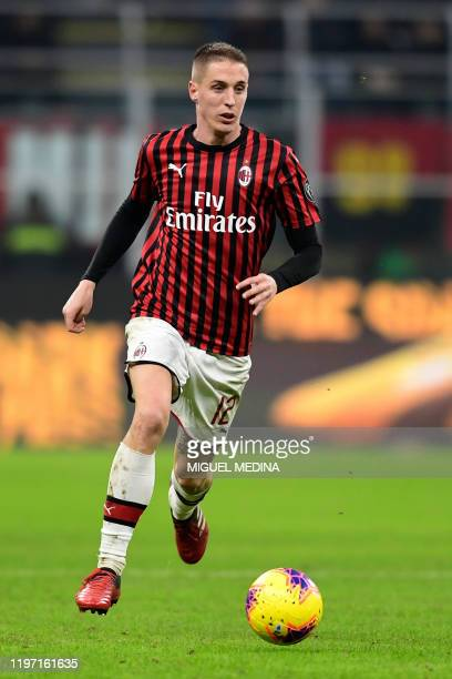 AC Milan's Italian defender Andrea Conti controls the ball during the Italian Cup round of 8 football match between AC Milan and Torino on January 28...