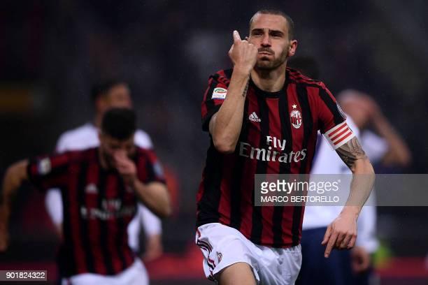 AC Milan's Italian defender Leonardo Bonucci celebrates after scoring during the Italian Serie A football match AC Milan Vs Crotone on January 6 2018...