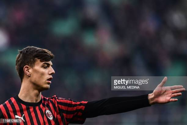 AC Milan's Italian forward Daniel Maldini gestures during the Italian Serie A football match AC Milan vs Verona on February 2 2020 at the San Siro...