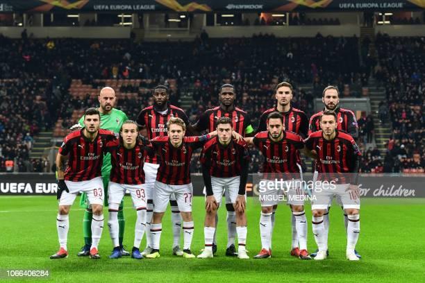 AC Milan's Italian forward Patrick Cutrone AC Milan's Uruguayan midfielder Diego Laxalt AC Milan's Croatian forward Alen Halilovic AC Milan's Italian...