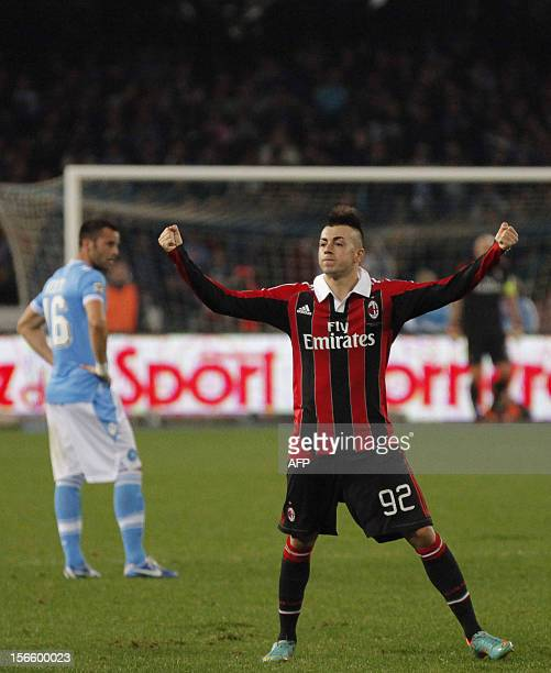 Milan's Italian forward Stephan El Shaarawi celebrates after scoring a goal during the Serie A football match between SSC Napoli and AC Milan at the...