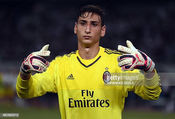 AC Milan's Italian goalkeeper Gianluigi Donnarumm reacts during the International Champions Cup football match between AC Milan and Real Madrid in...