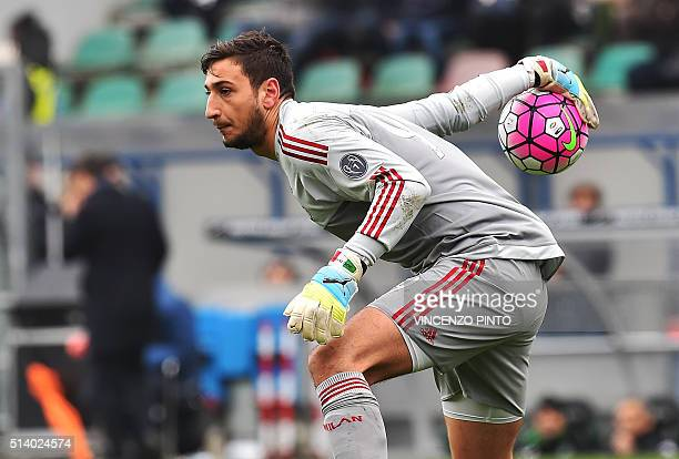 AC Milan's Italian goalkeeper Gianluigi Donnarumma holds the ball during the Serie A football match between Sassuolo and AC Milan on March 6 2016 at...