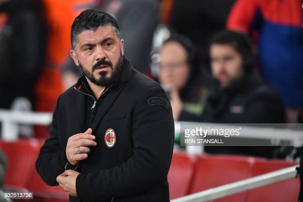 AC Milan's Italian manager Gennaro Gattuso looks on before the UEFA Europa League round of 16 secondleg football match between Arsenal and AC Milan...