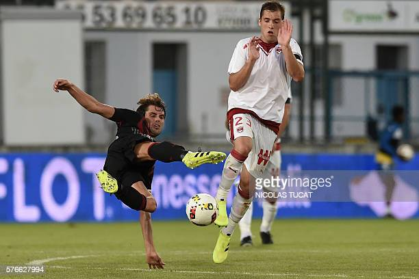 AC Milan's Italian midfielder Andrea Poli vies with Bordeaux' Argentinian midfielder Valentin Vada during the friendly football match between...