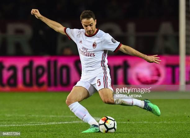 AC Milan's Italian midfielder Giacomo Bonaventura kicks the ball during the Italian Serie A football match Torino vs AC Milan at the Olimpico stadium...